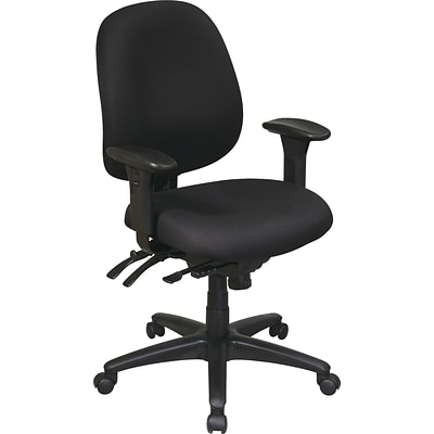 Office Star WorkSmart™ Fabric Mid Back Task Office Chair with Seat Slider, Black