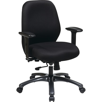 Office Star ProLine II Fabric Mid-Back Task Chair, Adjustable Arms, Black