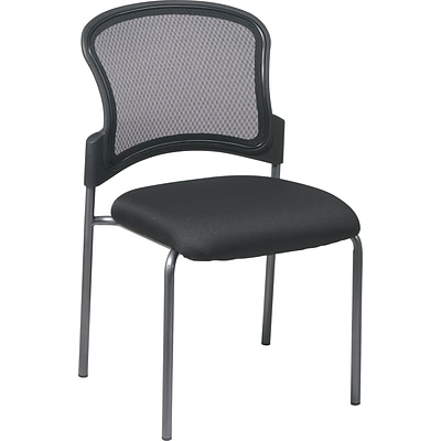 Office Star Proline II® ProGrid® Back Fabric Titanium Finish Armless Guest Chair, Black