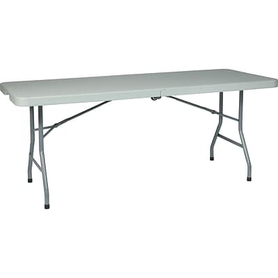 Office Star WorkSmart™ 6 Resin Multi Purpose Center Fold Table With Wheel,  Gray