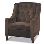 Office Star Avenue Six® Wood Curves Tufted Accent Chair, Chocolate Velvet