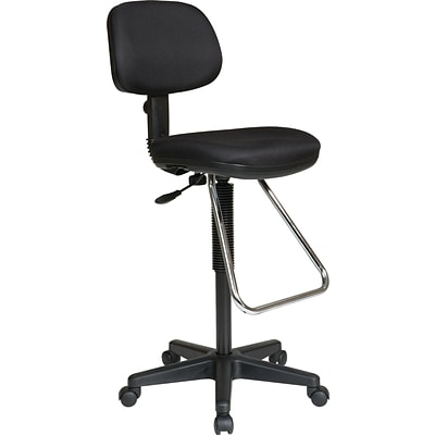 Office Star WorkSmart™ Fabric Economical Drafting Chair with Chrome Teardrop Footrest, Black