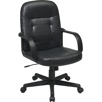 Office Star WorkSmart Leather Managers Office Chair, Fixed Arms, Black (EC3393-EC3)