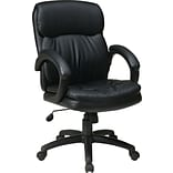 Office Star WorkSmart™ Leather Mid Back Executive Chair with Padded Arm, Black