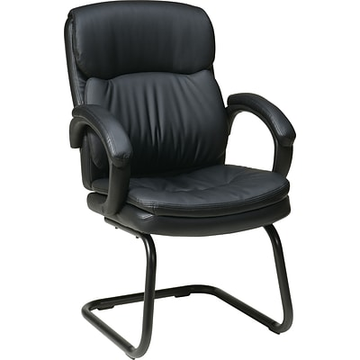 Office Star Eco Leather Mid Back Guests Chair, Black