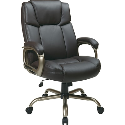 Office Star WorkSmart™ Eco Leather Executive Big Mans Chair, Espresso