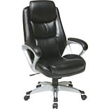 Office Star WorkSmart™ Eco Leather Executive Chair with Headrest, Silver Frame, Black