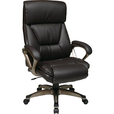 Office Star Worksmart High-Back Eco Leather Executive Chair, Fixed Arms, Espresso