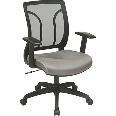 Office Star WorkSmart™ Mesh Screen Back Chair With Height Adjustable Arm,  Gray