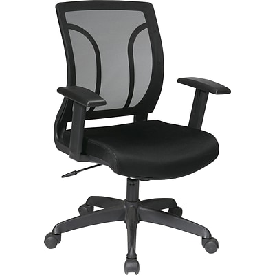 Office Star WorkSmart™ Mesh Screen Back Chair with Height Adjustable Arm, Black