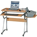 Techni Mobili Compact Computer Desk with Side Shelf and Keyboard Panel, Cherry
