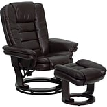 Flash Furniture Contemporary Leather Recliner Chair and Ottoman, Brown