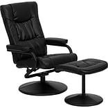 Flash Furniture Contemporary Leather Recliner Chair with Wrapped Base, Black