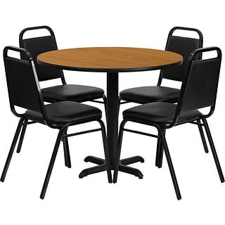 Flash Furniture 36 Round Natural Laminate Table w/ 4 Black Trapezoidal Back Banquet Chairs,Black