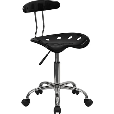 Flash Furniture Vibrant Computer Stool with Tractor Seat, Black