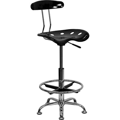 Belnick Vibrant Chrome Drafting Stool with Tractor Seat, Black