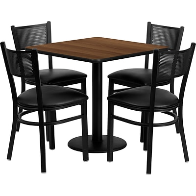 Flash Furniture Square Walnut Laminate Table Set with 4 Grid Back Metal Chair, Black and Mahogany