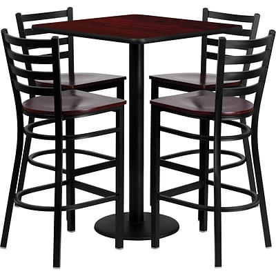 Flash Furniture 30 Square Laminate Table Set with 4 Ladder Back Metal Bar Stool,Mahogany Wood Seat