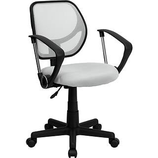 Flash Furniture Fabric Mid-Back Task Chair with Capped Arm, White