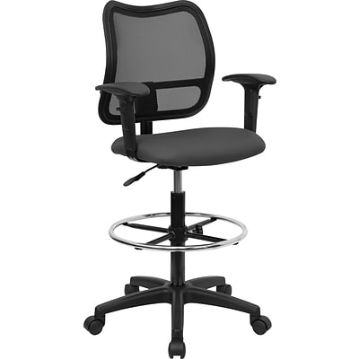 Belnick Mid Back Mesh Drafting Stool with Arm, Gray