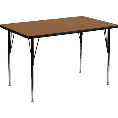 Flash Furniture 21 1/8 - 30 1/8 H x 30W x 48D 16 Gauge Tubular Steel Round Activity Table, Oak