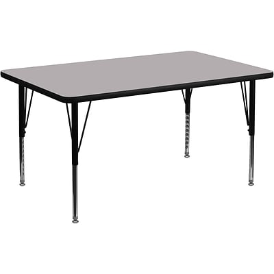 Flash Furniture 16 1/8 - 25 1/8 H x 36 W x 72 D Steel Rectangular Activity Table, Grey