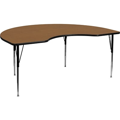 Flash Furniture 21 1/8-30 1/8H x 48W x 72D 16 Gauge Tubular Steel Kidney Shaped Activity Table, Oak