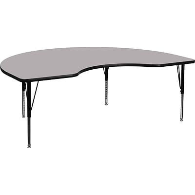 Flash Furniture 16 1/8 - 25 1/8 H x 48 W x 96 D Steel Kidney Shaped Activity Table, Gray