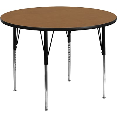 Belnick 21 1/8 - 30 1/8 H x 48 W x 48 D Steel Round Activity Table, Oak