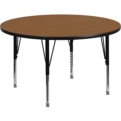 Belnick 16 1/8 - 25 1/8 H x 48 W x 48 D Steel Round Activity Table, Oak