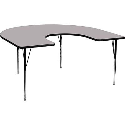 Flash Furniture 21 1/8 - 30 1/8H x 60W x 66D 16 Gauge Tubular Steel Horseshoe Activity Table, Gray