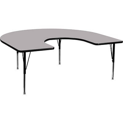 Flash Furniture 16 1/8-25 1/8H x 60W x 66D 16 Gauge Tubular Steel Kidney Shaped Activity Table, Gray