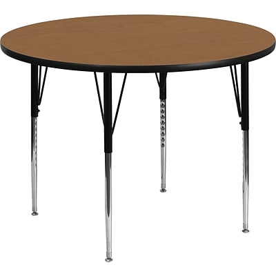 Belnick Height Adjustable Round Activity Table, Chrome, Laminate, Steel, 60 Round, Adult, Oak
