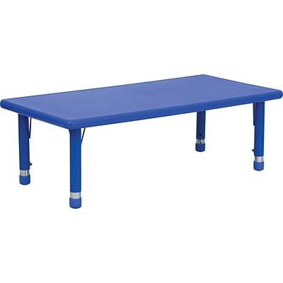 Flash Furniture 14 1/2 - 23 3/4 H x 24 W x 48 D Plastic Rectangular Activity Table, Blue