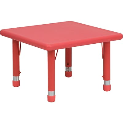Flash Furniture 14 1/2 - 23 3/4 H x 24 W x 24 D Plastic Square Activity Table, Red
