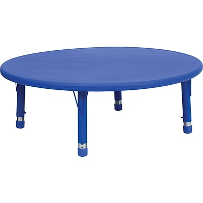 Flash Furniture 45 Plastic Round Height Adjustable Activity Table, Blue