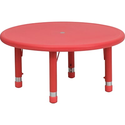 Flash Furniture 14 1/2 - 23 3/4 H x 33 W x 33 D Plastic Round Activity Table, Red