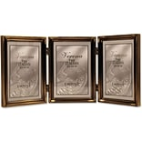 11435T Antique Gold Bead 3-1/2 x 5 Hinged Triple Picture Frame