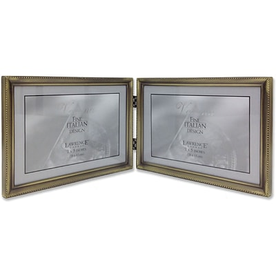 11475D Antique Gold Bead 7x5 Hinged Double Picture Frame