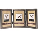 Antique Pewter Hinged Triple 3x5 Picture Frame - Beaded Edge Design