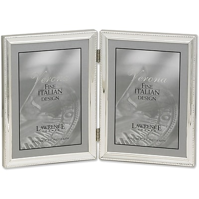 polished silver plate 5x7 hinged double picture frame bead border design