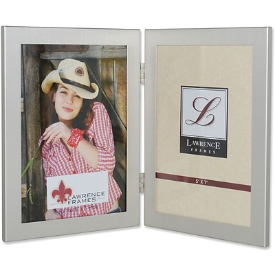 Brushed Silver 5x7 Hinged Double Metal Picture Frame
