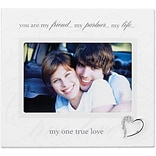 6x4 Ivory Wood True Love Picture Frame - Silver Heart Ornament with Crystals