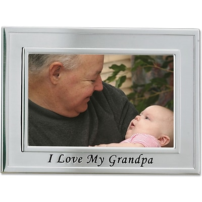 Brushed Metal 4x6 I Love My Grandpa Picture Frame - Sentiments Collection