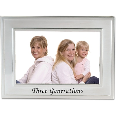 Brushed Metal 4x6 Three Generations Picture Frame - Sentiments Collection