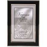 Silver Plated 4x6 Metal with Black Enamel Picture Frame