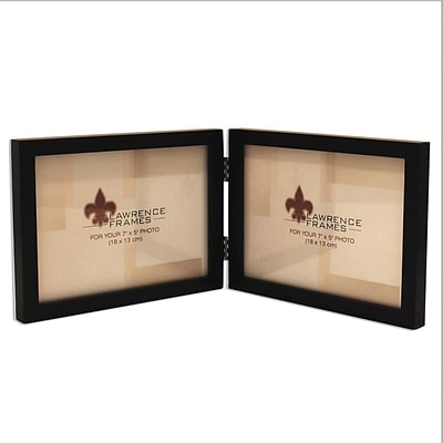 5x7 Hinged Double (Horizontal) Black Wood Picture Frame - Gallery Collection