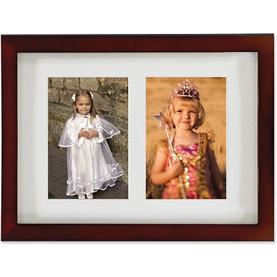 Walnut Wood Double 4x6 Matted Picture Frame