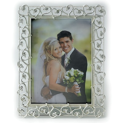 8x10 Silver Plated Metal Picture Frame - Open Heart Design with Crystals and Ivory Enamel