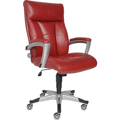 Sealy Roma Bonded Leather Executive Office Chair, Fixed Arms, Red (9843G)